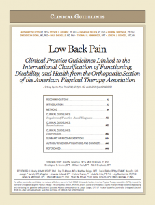 Low back pain guidelines from the APTA in Physiopedia