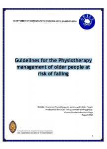 Guidelines for the physiotherapy management of older people at risk of falling