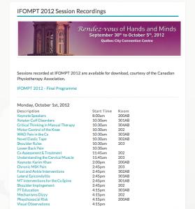 IFOMPT 2012 Audio Recordings
