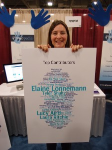 Rachael Lowe, Physiopedia Co-Founder and Director, showcasing our top 100 contributors