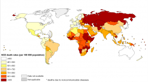2008 distribution of NCD death rates male