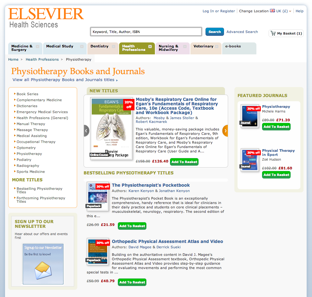 20% discount on Elsevier books for Physiopedia Members