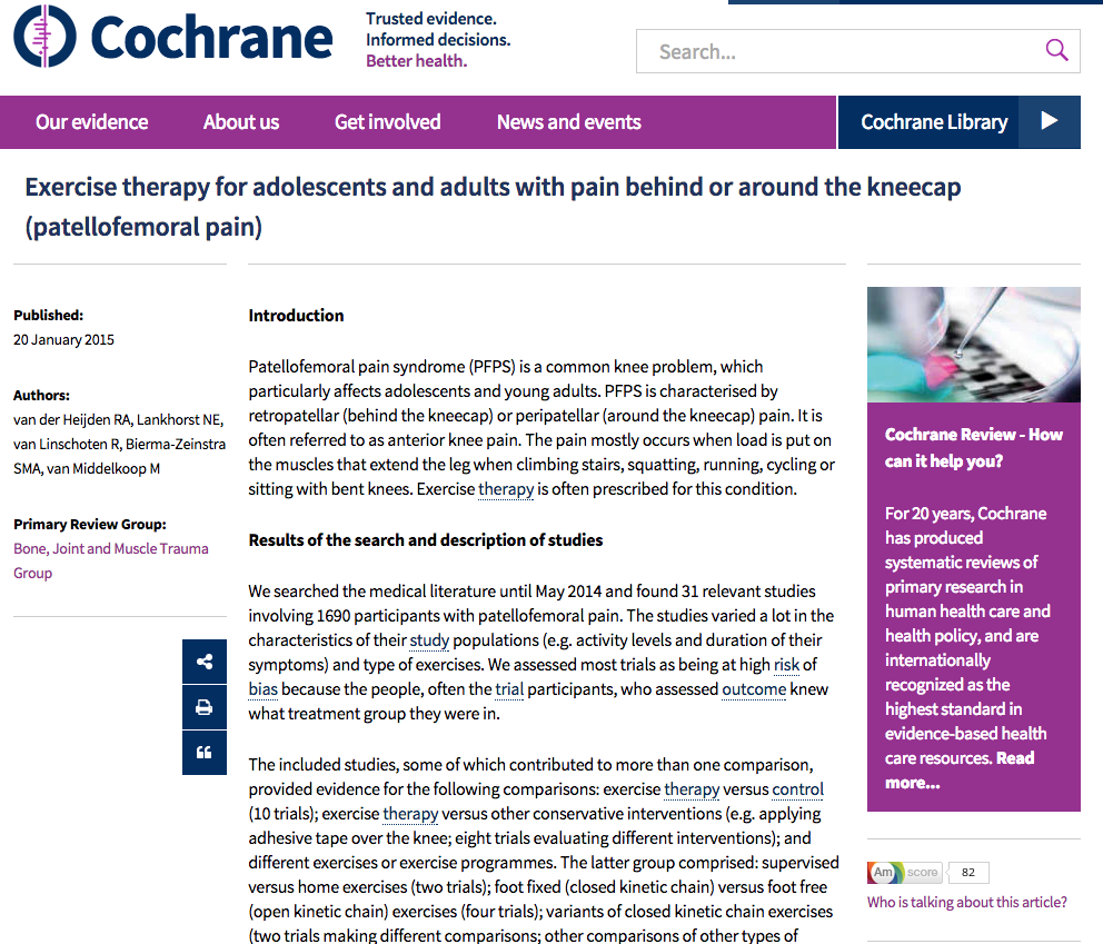 Cochrane review supports exercise for treating patellofemoral pain syndrom