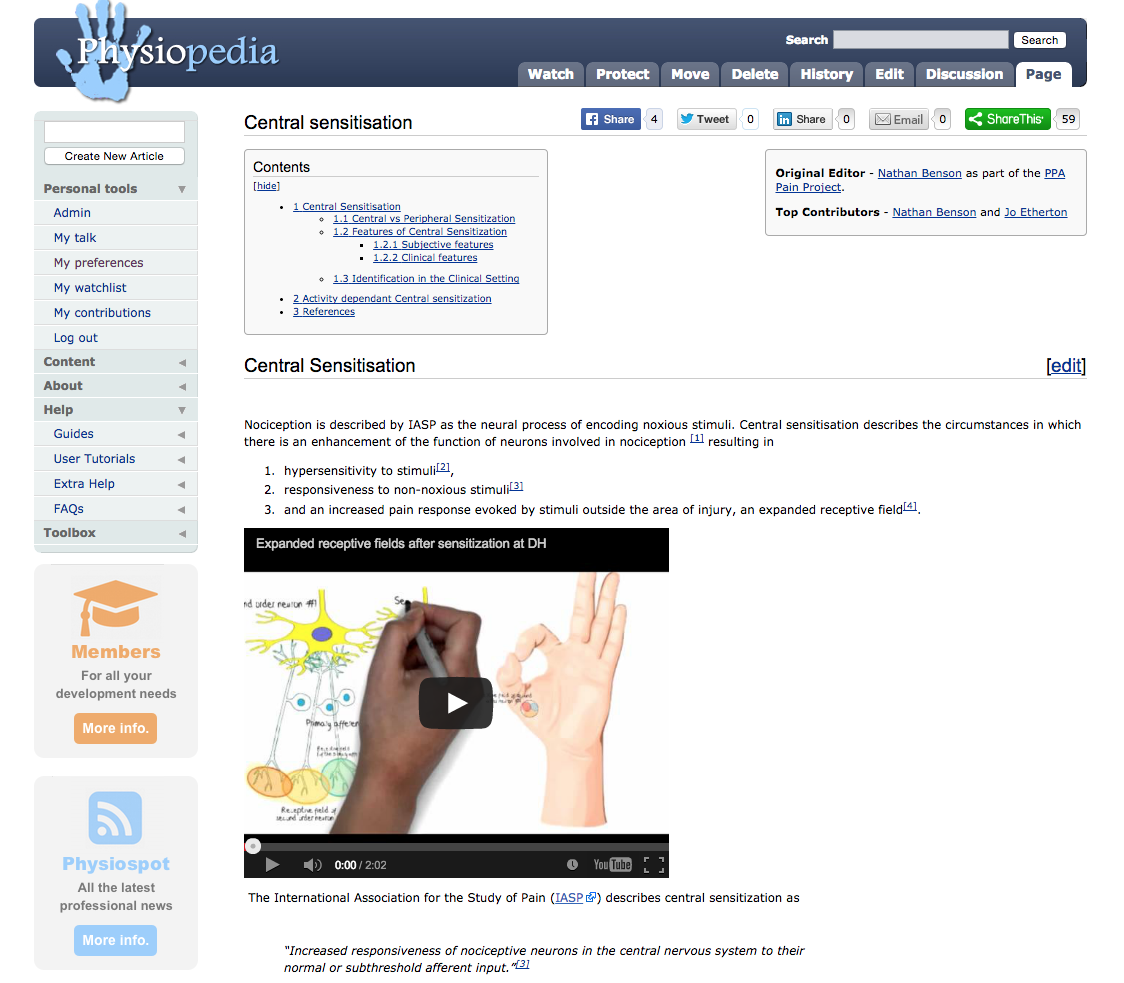 New 'Central Sensitisation' page from the PPA Project