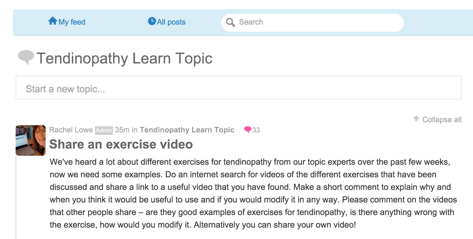 Tendinopathy course review