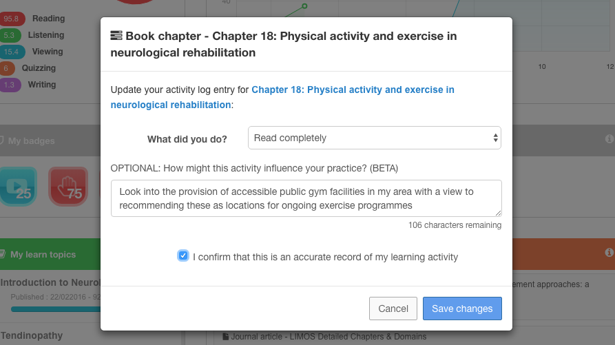 With Physiopedia Plus you can now record reflections on your learning