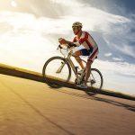 Cyclist overtaking a breeze. Triathlon. Summer Olympics