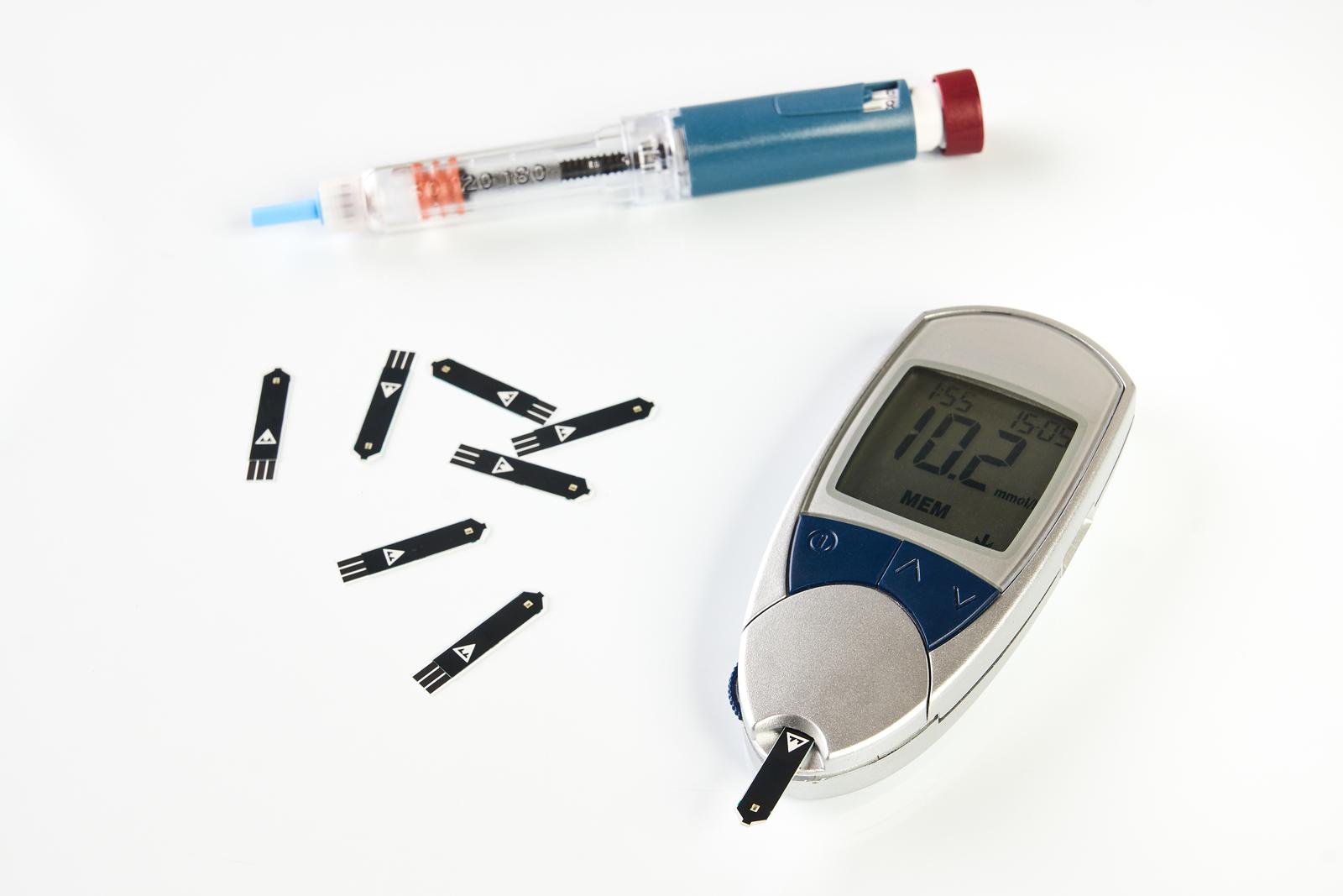 Diabetes Equipment, Insulin Pen And Glucose Level Blood Test
