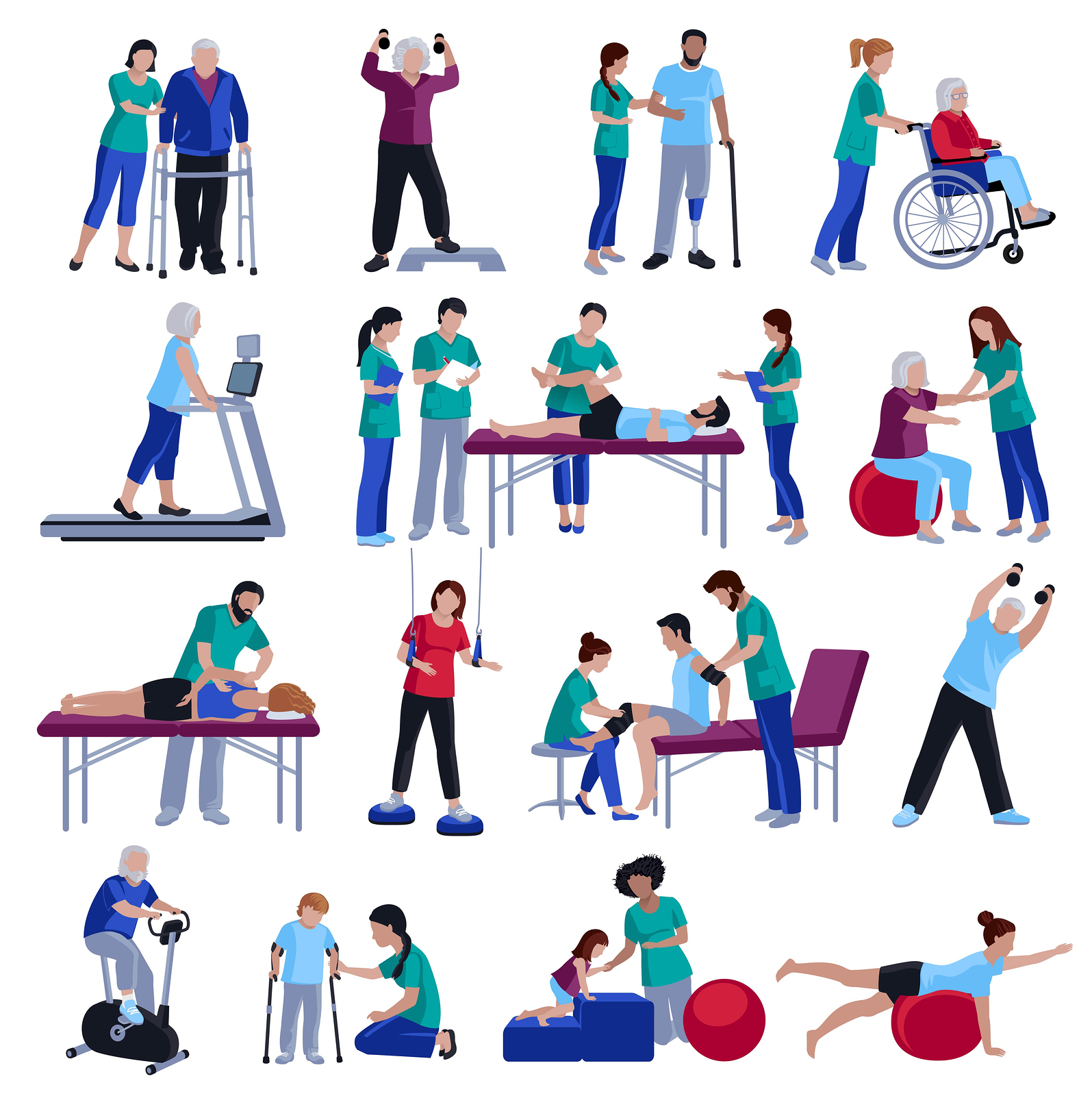Physiotherapy rehabilitation sessions for people with geriatric conditions.