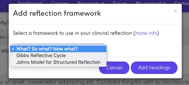 Physioplus - select reflection framework pop up