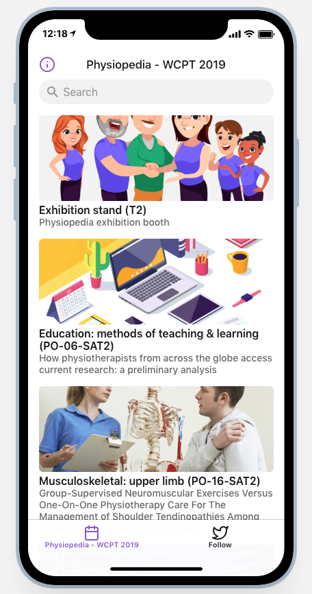 Physiopedia at WCPT Congress 2019 - app on a phone