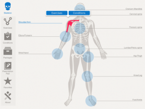 TherexRx app showing body diagram selection screen
