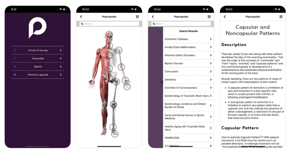 Physiopedia mobile app for physiotherapy and physical therapy