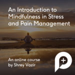 Introduction to mindfulness course advert with an image of a person meditating on the beach with a sunset