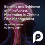 Benefits and evidence of mindfulness meditation in chronic pain management advert image. A central nervous system image in the back ground.